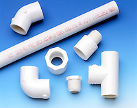 POLYVINYL CHLORIDE PIPE FITTINGS: PVC (i.e. polychloroethane)<br /> An industrially important tough white solid material, manufactured by the polymerisation of vinyl chloride, CH2=CHCl (i.e. Chloroethene).<br /> The rigidity of PVC plastic may be controlled by the addition of a plasticizer.
