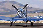 Goodyear built F2G-1 Super Corsair, piloted by Bob Odegaard, sits on the ramp at Stead Field in Nevada during the 2011 Reno Air Races. The aircraft was previously owned by Cook Cleland and raced in the Tinnerman and Thompson Trophy Races in the 1940's following World War II.