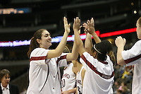 20 March 2006: Morgan Clyburn high fives Markisha Coleman during Stanford's 88-70 win over Florida State in the second round of the NCAA Women's Basketball championships at the Pepsi Center in Denver, CO.