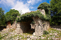 Ruins of an ancient village in  the protected sub- Mediterranean broad leaved deciduous forest of  Tramutana, Cres Island, Croatia