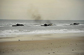 Amphibious assault vehicles (AAV) from the amphibious transport dock ship USS Oak Hill (LSD 51) make their way toward the shore Monday, February 6, 2012 during an amphibious assault exercise as part of Bold Alligator 2012 at Camp Lejeune, North Carolina. Exercise Bold Alligator 2012, the largest naval amphibious exercise in the past 10 years, represents the Navy and Marine Corps' revitalization of the full range of amphibious operations. The exercise focuses on today's fight with today's forces, while showcasing the advantages of seabasing. This exercise will take place January 30 through February 12, 2012 afloat and ashore in and around Virginia and North Carolina. .Mandatory Credit: Gregory N. Juday / U.S. Navy via CNP