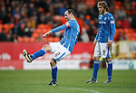 Dundee United v St Johnstone....21.11.15  SPFL,  Tannadice, Dundee<br /> Dave Mackay's free kick hits the post<br /> Picture by Graeme Hart.<br /> Copyright Perthshire Picture Agency<br /> Tel: 01738 623350  Mobile: 07990 594431