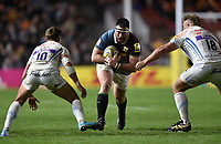 Will Collier of Harlequins takes on the Exeter Chiefs defence. Aviva Premiership match, between Harlequins and Exeter Chiefs on April 14, 2017 at the Twickenham Stoop in London, England. Photo by: Patrick Khachfe / JMP