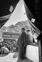 A crowd waits for a revered Lama to visit the Hemis Monastery.