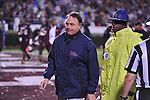 Ole Miss head coach Houston Nutt talks to an official about a call at halftime of Ole Miss vs. Mississippi State in Starkville, Miss. on Saturday, November 26, 2011. Mississippi State won 31-3.