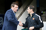 St Johnstone v Dundee United...26.09.15  SPFL   McDiarmid Park, Perth<br /> Tommy Wright shakes hands with Jackie McNamar before kick off<br /> Picture by Graeme Hart.<br /> Copyright Perthshire Picture Agency<br /> Tel: 01738 623350  Mobile: 07990 594431