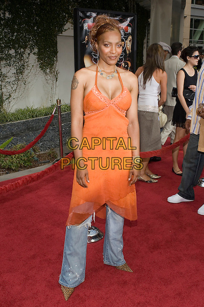 """NONA GAYE.At the """"Hustle & Flow"""" Los Angeles Film Premiere,.held at the Arclight Cinerama Dome, .Hollywood, California, USA, 20th July 2005..full length orange dress over jeans.Ref: ADM.www.capitalpictures.com.sales@capitalpictures.com.©Zach Lipp/AdMedia/Capital Pictures."""