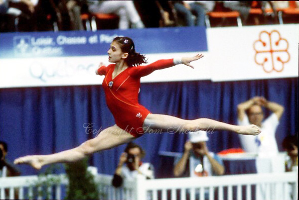 Natalia Yurchenko of Soviet Union performs on floor exercise at 1985 World Championships at Montreal, Canada.  Photo by Tom Theobald.