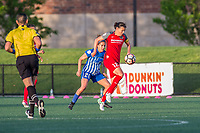 Boston, MA - Friday May 19, 2017: Angela Salem and Christine Sinclair during a regular season National Women's Soccer League (NWSL) match between the Boston Breakers and the Portland Thorns FC at Jordan Field.