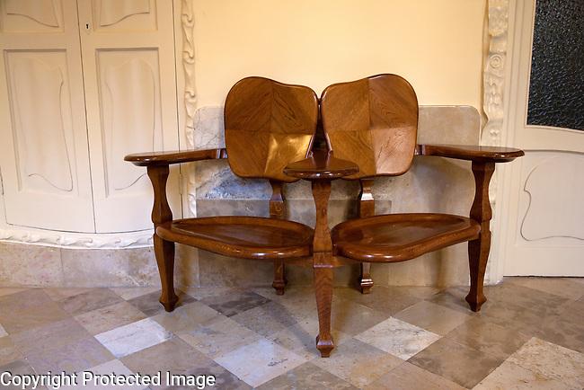 Furniture Chair inside Pedrera House Museum by Gaudi in Barcelona, Catalonia, Spain