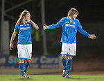 St Johnstone v St Mirren.....11.01.14   SPFL<br /> All smiles for goalscorers Murray Davidson and Stevie May<br /> Picture by Graeme Hart.<br /> Copyright Perthshire Picture Agency<br /> Tel: 01738 623350  Mobile: 07990 594431
