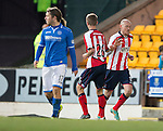 St Johnstone v Kilmarnock.....09.11.13     SPFL<br /> Mark O'Hara congratulates Sean Clohessy after his goal<br /> Picture by Graeme Hart.<br /> Copyright Perthshire Picture Agency<br /> Tel: 01738 623350  Mobile: 07990 594431