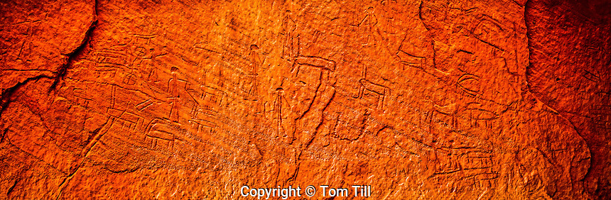 Ancient Egyptian petroglyphs, Timna National Park, Isreal Great Rift Valley near Red Sea, Near world's oldest copper mine, depicting chariots, February, Pano