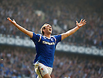 Lee Wallace celebrates his goal for Rangers against Celtic