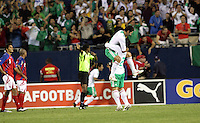 Mexican players celebrate after Guillermo Franco's goal put Mexico ahead 1-0.  Mexico defeated Costa Rica 2-1 on penalty kicks in the semifinals of the Gold Cup at Soldier Field in Chicago, IL on July 23, 2009.