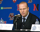 Greg Cronin (Northeastern - Head Coach) - The Boston College Eagles defeated the Northeastern University Huskies 7-6 (OT) in the 2011 Beanpot Final on Monday, February 14, 2011, at TD Garden in Boston, Massachusetts.