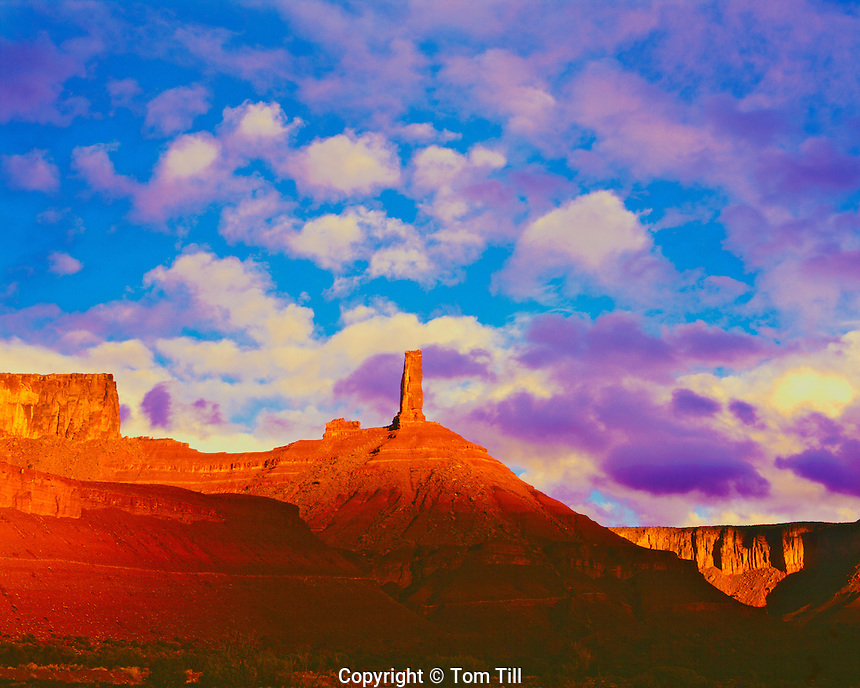 Sunset Clouds at Castle Rock, Proposed BLM Wilderness, Proposed La Sal Waters Wilderness, near the Colorado River, Moab, Utah