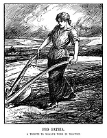 Pro Patria. A tribute to woman's work in war-time. (a woman ploughs a field as part of the Women's Land Army during WW1)
