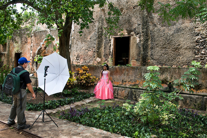 Quincañera photo shoot at the Hacienda San Pedro Ochil. Yucatan, Mexico
