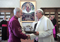 Pope Francis meets  Archbishop of Canterbury at the Vatican  14 June 2013.