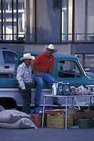 Two Mexican men wearing cowboy hats in the city of Chihuahua, Mexico