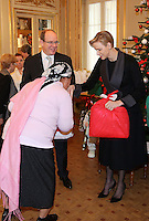 Prince Albert of Monaco and Princess Charlene make the Christmas visit to the Red Cross - Monaco