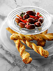Black olives and cheese straws