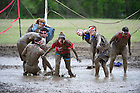 April 29, 2012; Muddy Sunday, a volleyball tournament played in the mud for charity. Photo by Barbara Johnston/University of Notre Dame
