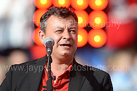 James Dean Bradfield of the Manic Street Preachers performs during the homecoming celebrations at the Cardiff City stadium on Friday 8th July 2016 for the Euro 2016 Wales International football squad.<br /> <br /> <br /> Jeff Thomas Photography -  www.jaypics.photoshelter.com - <br /> e-mail swansea1001@hotmail.co.uk -<br /> Mob: 07837 386244 -