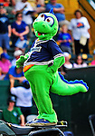 "18 July 2010: Vermont Lake Monsters Macot Champ entertains the fans at a game against the Staten Island Yankees at Centennial Field in Burlington, Vermont. The Lake Monsters, dressed in their Breast Cancer Awareness ""Pinks"", fell to the Yankees 9-5 in NY Penn League action. Mandatory Credit: Ed Wolfstein Photo"