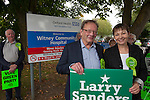 Green Party Co-leader, MP Caroline Lucas helps Larry Sanders, Brother of Senator Bernie Sanders,  to  launch <br /> his campaigh to stand as Green Party MP candidate for Witney,  following David Cameron standing down from his Witney seat.    Witney Community Hospital , Witney, Oxfordshire