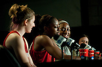 DENVER, CO--Nneka Ogwumike talks about her sister Chiney Ogwumike during a post-practice press conference at the Pepsi Center for the 2012 NCAA Women's Final Four festivities in Denver, CO.