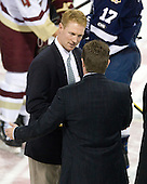 Greg Brown (BC - Assistant Coach) - The Boston College Eagles defeated the St. Francis Xavier University X-Men 4-1 in their exhibition match on Sunday, October 4, 2009, at Conte Forum in Chestnut Hill, Massachusetts.