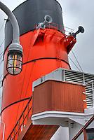 RMS Queen Mary, Red, Black, Smoke Stack, Ships Horns, Long Beach, CA, California, USA High dynamic range imaging (HDRI or HDR)