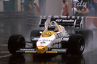 MONTE CARLO, MONACO - JUNE 3: Keke Rosberg of Finland drives his Williams FW09 4/Honda RA163E during the Grand Prix de Monaco FIA Formula One World Championship race on the temporary Circuit de Monaco in Monte Carlo, Monaco, on June 3, 1984.