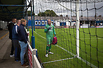 Clitheroe 0 Consett 1, 20/08/2016. Shawbridge, Northern Premier League Division One North. Visiting supporters chatting to the home goalkeeper during the second-half as Clitheroe (in blue) play Consett at Shawbridge in an FA Cup preliminary round tie. Northern Premier League division one north team Clitheroe were formed in 1877 and have played at the same ground since 1925. Visitors Consett, from the Northern League division one, won the match 1-0, watched by 207 spectators. Photo by Colin McPherson.