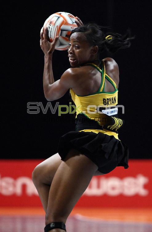 PICTURE BY VAUGHN RIDLEY/SWPIX.COM - Netball - World Netball Series 2009 - MEN Arena, Manchester, England - 09/10/09...Copyright - Simon Wilkinson - 07811267706...New Zealand v Jamaica - Jamaica's Nadine Bryan.