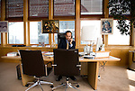 Societe Generale's new CEO Frederic Oudea in his office at Paris - La Defense / 2008, june 18th / credit : Antoine Doyen