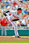 6 March 2012: Atlanta Braves pitcher Eric O'Flaherty in action during a Spring Training game against the Washington Nationals at Champion Park in Disney's Wide World of Sports Complex, Orlando, Florida. The Nationals defeated the Braves 5-2 in Grapefruit League action. Mandatory Credit: Ed Wolfstein Photo