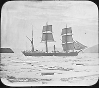 BNPS.co.uk (01202 558833)<br /> Pic: PenzanceAuctions/BNPS<br /> <br /> Ships were slowly surrounded by sea ice. <br /> <br /> Incredibly rare glass slides depicting the British expedition to the North Pole in 1875 have been found 140 years later.<br /> <br /> The remarkable images from the early days of photography depict the brave men and their Inuit guides who endured sub-zero temperatures to try to become the first to reach the pole in 1875.<br /> <br /> Photographers Thomas Mitchell and George White went on the failed expedition and now 42 of their glass slides have been found in a box during a house clearance in Cornwall.