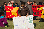 A young boy adjusts his sign during the demonstration to Defend our Climate in Oka, Quebec, Canada. The rally was held in Oka on traditional Mohawk territory and coincided with over 130 events across Canada as part of a National day to Defend our Climate.The rally was held in Oka on traditional Mohawk territory and coincided with over 130 events across Canada as part of a National day to Defend our Climate.