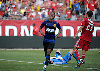 Manchester United midfielder Nani (17) sticks out his tongue after scoring Manchester United's third goal.  Manchester United defeated the Chicago Fire 3-1 at Soldier Field in Chicago, IL on July 23, 2011.