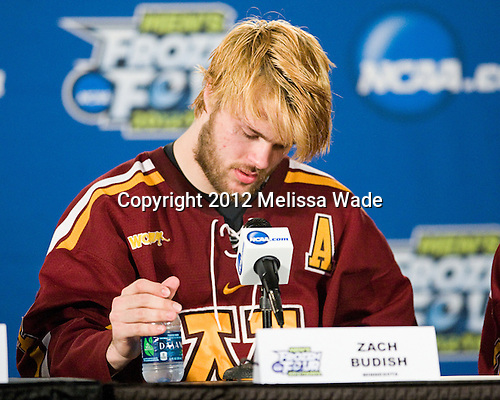 Zach Budish (Minnesota - 24) - The Boston College Eagles defeated the University of Minnesota Golden Gophers 6-1 in their 2012 Frozen Four semi-final on Thursday, April 5, 2012, at the Tampa Bay Times Forum in Tampa, Florida.