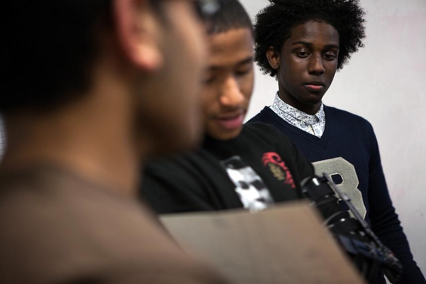 From left: Gurparshad Singh, 17, Omari Ross, 18 and Rashawn Russell, 18, from the Babsou Posse 11, during small group activities at the Posse Foundation in New York, NY on April 01, 2014.Students in the Posse Foundation are chosen as scholars and go through college prep together as seniors in high school then attend the same college campus together where they get ongoing support. The Posse Foundation has identified, recruited and trained 5,544 public high school students with extraordinary academic and leadership potential to become Posse Scholars over the past 25 years.