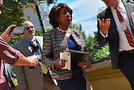 Washington, DC - September 22, 2016: U.S. Rep. Maxine Waters, of the Congressional Black Caucus, walks to a meeting with U.S. Attorney General  Loretta Lynch hold a news conference in front of the Department of Justice headquarters in the District of Columbia, September 22, 2016, to address the shooting and profiling of African Americans by law enforcement members. The CBC presented Attorney General Lynch with a letter outlining its concerns.  (Photo by Ryan Ketterling/Media Images International)