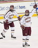 Patrick Brown (BC - 23), Johnny Gaudreau (BC - 13) - The Boston College Eagles defeated the visiting Boston University Terriers 6-4 (EN) on Friday, January 17, 2014, at Kelley Rink in Conte Forum in Chestnut Hill, Massachusetts.
