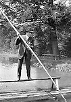 Highland Park:  Brady and Sarah Stewart enjoying Lake Carnegie in Highland Park.  Interesting ride, using the pole to transport people across the lake while they are sitting down and enjoying the scenery - 1912.  During this time, Brady Stewart lived 5801 Wellesley Avenue in Highland Park not far from the park entrance.