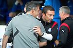St Johnstone v Bolton....02.08.10  Pre-Season Friendly.Owen Coyle and Derek McInnes hug before kick off.Picture by Graeme Hart..Copyright Perthshire Picture Agency.Tel: 01738 623350  Mobile: 07990 594431