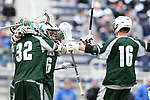 DURHAM, NC - MARCH 11: Loyola's Brian Sherlock (6) celebrates his second goal with Zack Sirico (32) and Alex McGovern (16). The Duke University Blue Devils hosted the Loyola University Maryland Greyhounds on March 11, 2017, at Koskinen Stadium in Durham, NC in a Division I College Men's Lacrosse match. Duke won the game 15-7.