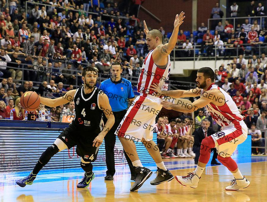 Kosarka ABA League season 2015-2016<br /> Crvena Zvezda v Partizan<br /> Aleksandar Cvetkovic (L) Maik Zirbes and Branko Lazic (R)<br /> Beograd, 03.11.2015.<br /> foto: Srdjan Stevanovic/Starsportphoto&copy;